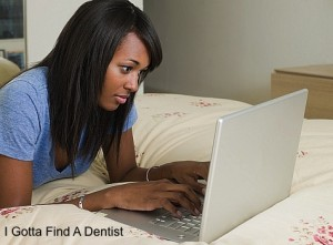 girl looking on google for a dentist